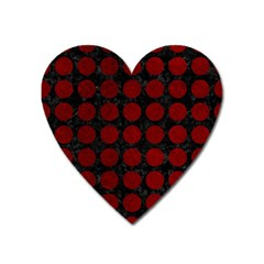 Circles1 Black Marble & Red Grunge (r) Heart Magnet by trendistuff