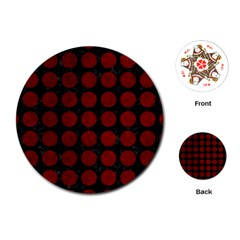 Circles1 Black Marble & Red Grunge (r) Playing Cards (round)  by trendistuff