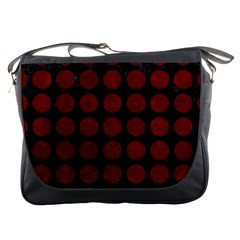 Circles1 Black Marble & Red Grunge (r) Messenger Bags by trendistuff