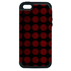 Circles1 Black Marble & Red Grunge (r) Apple Iphone 5 Hardshell Case (pc+silicone) by trendistuff