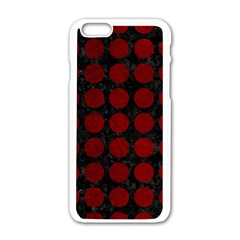 Circles1 Black Marble & Red Grunge (r) Apple Iphone 6/6s White Enamel Case