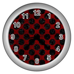 Circles2 Black Marble & Red Grunge Wall Clocks (silver)  by trendistuff