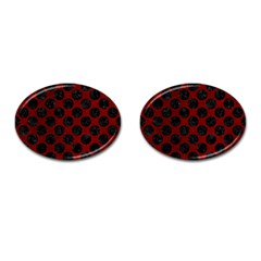 Circles2 Black Marble & Red Grunge Cufflinks (oval) by trendistuff