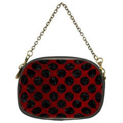 Circles2 Black Marble & Red Grunge Chain Purses (one Side)  by trendistuff