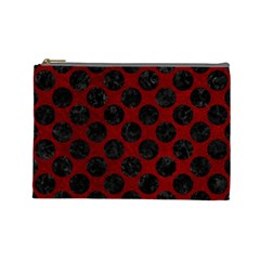 Circles2 Black Marble & Red Grunge Cosmetic Bag (large)  by trendistuff