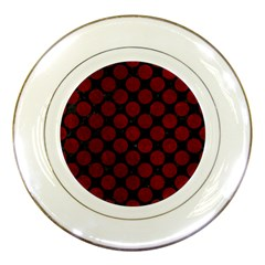 Circles2 Black Marble & Red Grunge (r) Porcelain Plates by trendistuff