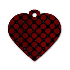 Circles2 Black Marble & Red Grunge (r) Dog Tag Heart (two Sides) by trendistuff