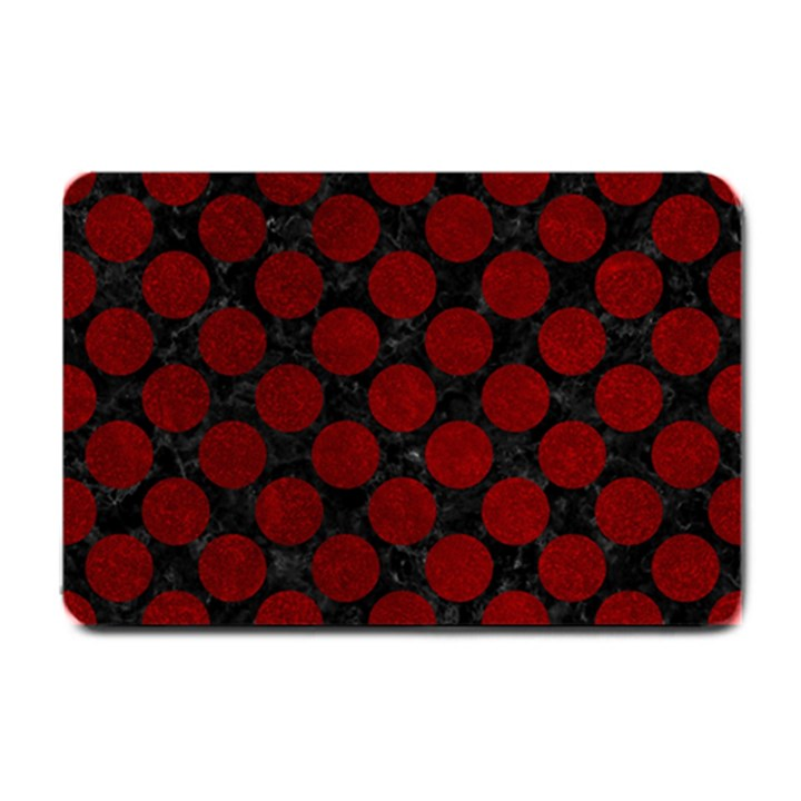 CIRCLES2 BLACK MARBLE & RED GRUNGE (R) Small Doormat