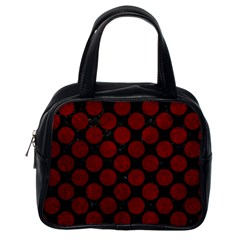 Circles2 Black Marble & Red Grunge (r) Classic Handbags (one Side) by trendistuff
