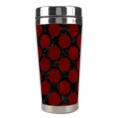 Circles2 Black Marble & Red Grunge (r) Stainless Steel Travel Tumblers by trendistuff