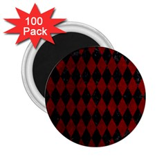 Diamond1 Black Marble & Red Grunge 2 25  Magnets (100 Pack)  by trendistuff