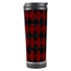 Diamond1 Black Marble & Red Grunge Travel Tumbler by trendistuff
