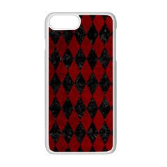 Diamond1 Black Marble & Red Grunge Apple Iphone 7 Plus White Seamless Case by trendistuff