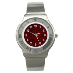 Damask1 Black Marble & Red Grunge Stainless Steel Watch by trendistuff