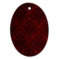 Damask1 Black Marble & Red Grunge Oval Ornament (two Sides) by trendistuff