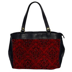 Damask1 Black Marble & Red Grunge Office Handbags (2 Sides)  by trendistuff