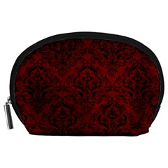 Damask1 Black Marble & Red Grunge Accessory Pouches (large)  by trendistuff