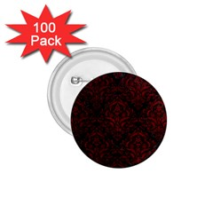 Damask1 Black Marble & Red Grunge (r) 1 75  Buttons (100 Pack)  by trendistuff