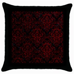 Damask1 Black Marble & Red Grunge (r) Throw Pillow Case (black) by trendistuff