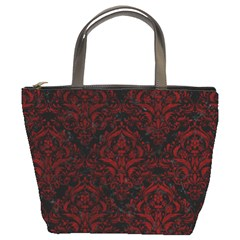 Damask1 Black Marble & Red Grunge (r) Bucket Bags