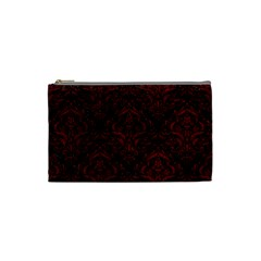 Damask1 Black Marble & Red Grunge (r) Cosmetic Bag (small)  by trendistuff