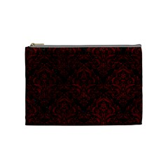 Damask1 Black Marble & Red Grunge (r) Cosmetic Bag (medium)  by trendistuff