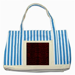 Damask2 Black Marble & Red Grunge Striped Blue Tote Bag by trendistuff