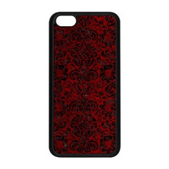 Damask2 Black Marble & Red Grunge Apple Iphone 5c Seamless Case (black) by trendistuff