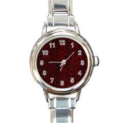 Damask2 Black Marble & Red Grunge (r) Round Italian Charm Watch by trendistuff
