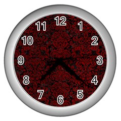 Damask2 Black Marble & Red Grunge (r) Wall Clocks (silver)