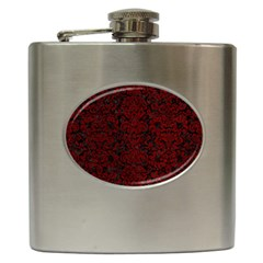 Damask2 Black Marble & Red Grunge (r) Hip Flask (6 Oz) by trendistuff