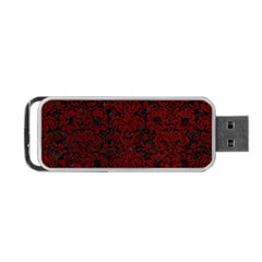 Damask2 Black Marble & Red Grunge (r) Portable Usb Flash (two Sides) by trendistuff