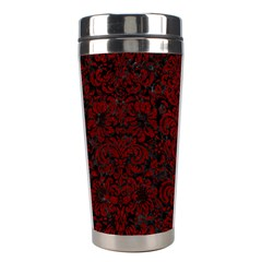 Damask2 Black Marble & Red Grunge (r) Stainless Steel Travel Tumblers by trendistuff