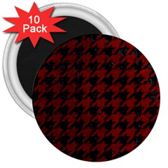 Houndstooth1 Black Marble & Red Grunge 3  Magnets (10 Pack)