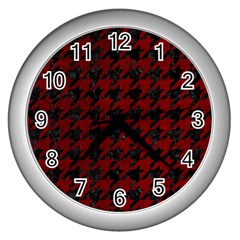 Houndstooth1 Black Marble & Red Grunge Wall Clocks (silver)  by trendistuff