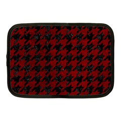 Houndstooth1 Black Marble & Red Grunge Netbook Case (medium)  by trendistuff