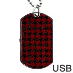 Houndstooth1 Black Marble & Red Grunge Dog Tag Usb Flash (one Side) by trendistuff