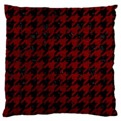 Houndstooth1 Black Marble & Red Grunge Large Flano Cushion Case (one Side) by trendistuff