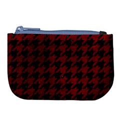 Houndstooth1 Black Marble & Red Grunge Large Coin Purse by trendistuff