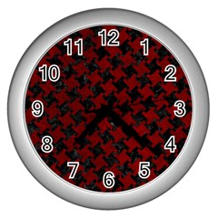 Houndstooth2 Black Marble & Red Grunge Wall Clocks (silver)  by trendistuff