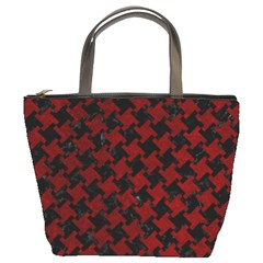Houndstooth2 Black Marble & Red Grunge Bucket Bags