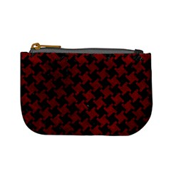 Houndstooth2 Black Marble & Red Grunge Mini Coin Purses by trendistuff