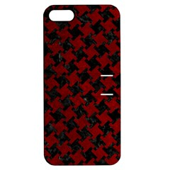 Houndstooth2 Black Marble & Red Grunge Apple Iphone 5 Hardshell Case With Stand