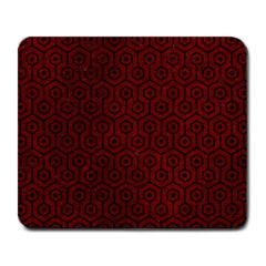 Hexagon1 Black Marble & Red Grunge Large Mousepads by trendistuff