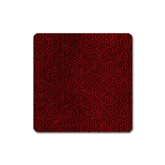 Hexagon1 Black Marble & Red Grunge Square Magnet by trendistuff