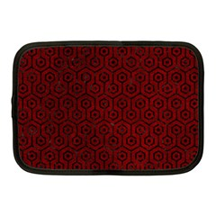Hexagon1 Black Marble & Red Grunge Netbook Case (medium)  by trendistuff
