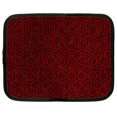 Hexagon1 Black Marble & Red Grunge Netbook Case (large) by trendistuff