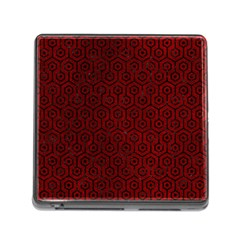 Hexagon1 Black Marble & Red Grunge Memory Card Reader (square) by trendistuff