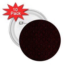 Hexagon1 Black Marble & Red Grunge (r) 2 25  Buttons (10 Pack)  by trendistuff