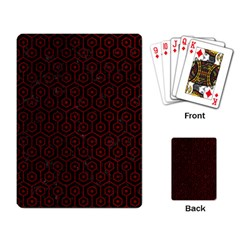 Hexagon1 Black Marble & Red Grunge (r) Playing Card by trendistuff